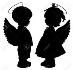 Black angel silhouettes