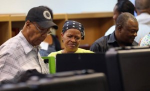 Black voters turned out in large numbers, but not as many as last election.
