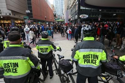 Police lined up on Washington St at Downtown Crossing. Monday,March 7, 2016. Staff Photo by Nancy Lane
