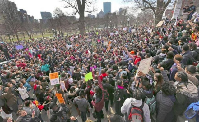 Boston Public School students who walked out March 7 gathered on the Boston Commons.
