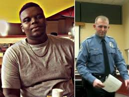 Mike Brown, 18 (l), killed by Officer Darren Wilson (r) with up to 8 gunshots, on Aug. 9, 2014.