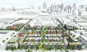 Architects' rendering of plan for portion of Brush Park, controlled by Dan Gilbert.