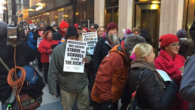 CTU rally: will they starve the schools to profit the rich?