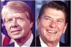 Former presidents Jimmy Carter and Ronald Reagan