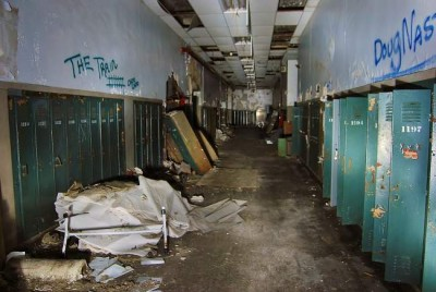 The remains of the historic original Cass Technical High School in Detroit. Most of Detroits