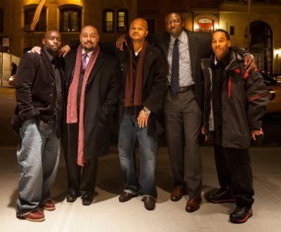 Antron McCray, Raymond Santana, Kevin Richardson, Yusef Salaam, and Korey Wise in New York City. Known as the Central Park Five, they served prison sentences after being wrongly convicted in the Central Park jogger case. Credit Michael Nagle for The New York Times