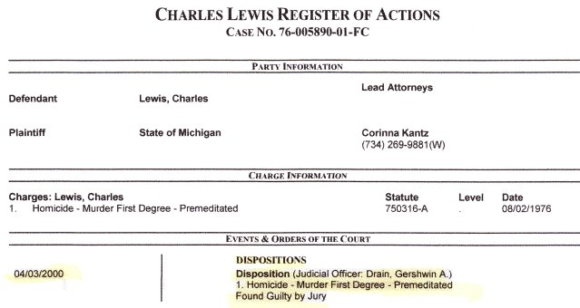 Current register showing Lewis' conviction in 2000.