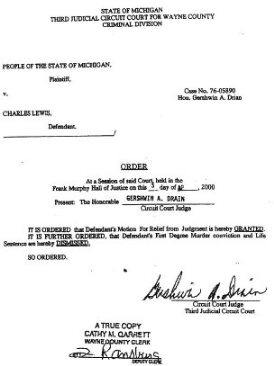 Judge Drain's 2000 order dismissing case vs. Lewis.