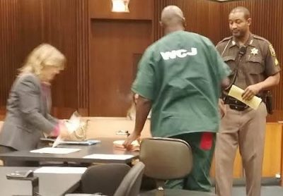 Deputy Sheriff removes Lewis from hearing without cause Oct. 28, before it had concluded.