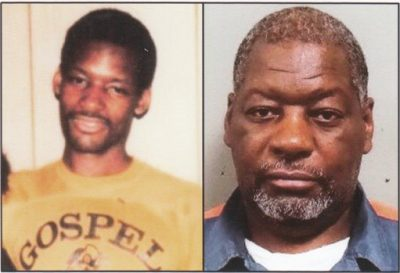 (L) Charles Lewis at 17 in prison; (R) Charles Lewis now at 59