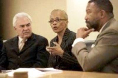 "Charter schools advocate Doug Ross, Skillman CEO Carol Goss, and DPS EFM Robert Bobb at conference on ""Excellent Schools."" Photo: Diane Bukowski"