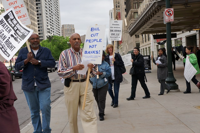 Protesters said Chase is largely responsible for pending water shut-offs in Detroit, due to $537 million in illegal interest rate swaps it foisted on DWSD.