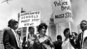 Protesters during the civil rights movement of the 1960's fought police brutality as well.