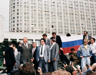 "Provided by AFP: On August 19, 1991, a group of security chiefs and Communist bosses who opposed Gorbachev declared themselves in charge, with Russian President Boris Yeltsin (L) gathering his supporters after denouncing the coup. ""For 25 years we have been doing exactly the same thing every year,"" said Mikhail Shneider, the event's organiser. ""There's never been a time when they completely denied us."""