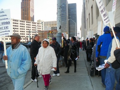 Detroit retirees and their supporters protest outside bankruptcy hearing April 1, 2014. Dozens of such protests were held.