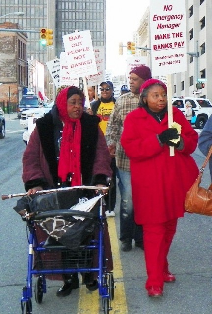 Older city retirees were among hundreds who protested outside bankruptcy court April 1, 2014.