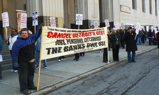 Protesters demanded cancellation of Detroit's debt to the banks outside bankruptcy hearings April 1, 2014.