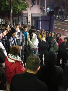 Protesters hold impromptu memorial for Africa.