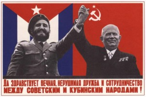The collapse of the Soviet Union hurt third world countries across the globe, which had benefited from the economic backing of the USSR. Here, Fidel Castro and the late Soviet premier Nikita Krushchev declare their solidarity shortly after the Cuban revolution.