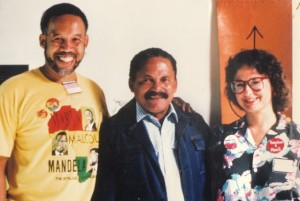 "Pedro Ross (center), head of the Cuban Trade Federation, with AFSCME officials Harold Mitchell from Cleveland and Diane Bukowski from Detroit. Along with thousands of union delegates from across the hemisphere, we attended a three-day conference with the slogan, ""Cuba is not Alone!"" All Cuban workers are unionized."