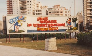 Cuban workers housing in 1991. Sign says to U.S. imperialism: we are not afraid of you! Photo: Diane Bukowski, 1991