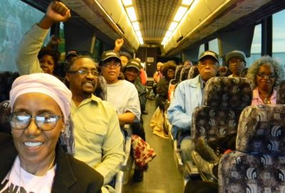 DAREA members show their fighting spirit on the bus. The ride took a little over 4 hours, taking off from the parking lot of the Dearborn Public Library.