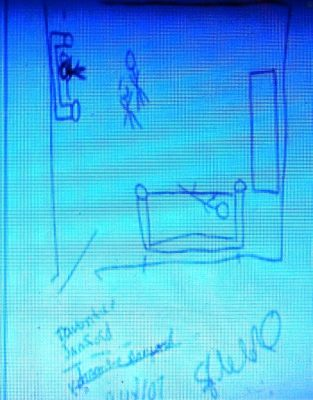 Diagram Tolbert testified Sanford had made of house, in Russells