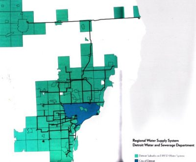 "DWSD service area shown in ""Mapping the Water Crisis."""