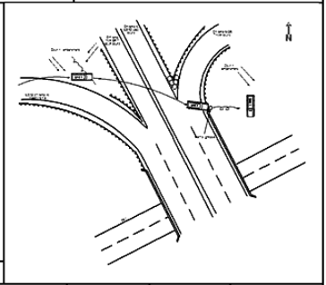 OHP map shows Davis vehicle flying over four lanes of highway traffic before landing down a steep drop-off at right.