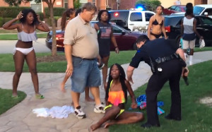 Dejerria Becton after assault is berated by cop and white McKinney resident.