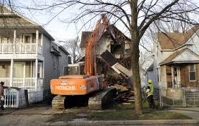 Demolition of Detroit home.