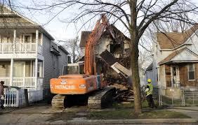 Demolition of Detroit home.