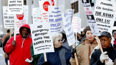 One of many protests which took place during Detroit bankruptcy proceedings.