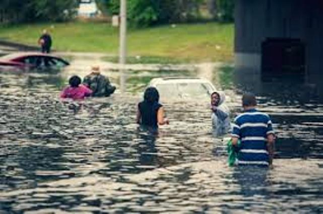 Drivers on Detroit freeway wade to safety Aug. 11, 2014, after massive flooding of roads and homes.