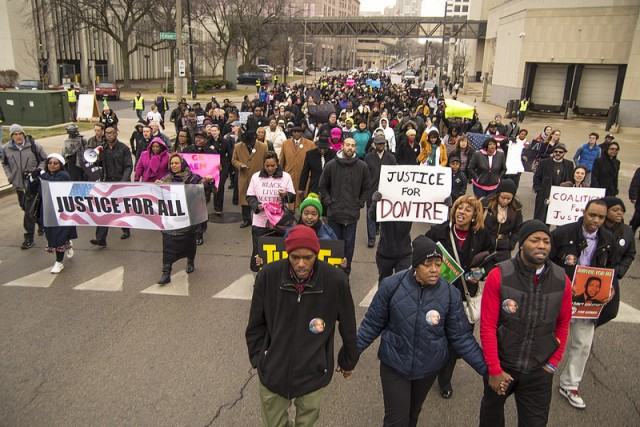Dontre Hamilton's family leads one of many protests since his killing April 30, 2014.