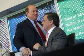 """Detroit """"Mayor"""" Mike Duggan (l) with his patron, billionaire Dan Gilbert (r)."""