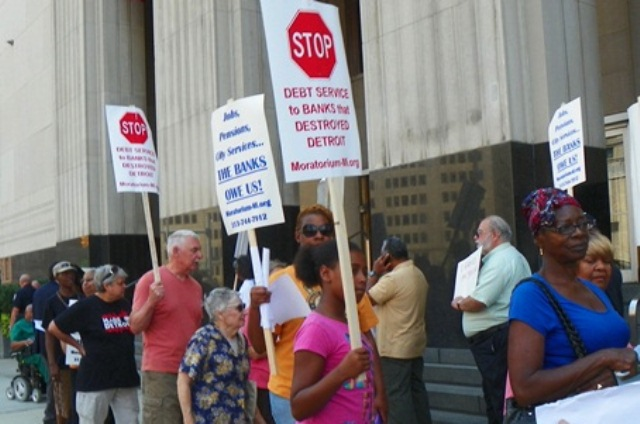 Protest against Detroit bankruptcy proceedings Aug. 19, 2013, including retirees and their supporters, demanded an end to debt service to the banks.