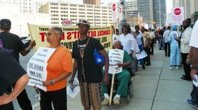 City retirees protest outside Judge Rhodes bankruptcy hearing Aug. 19, 2013.
