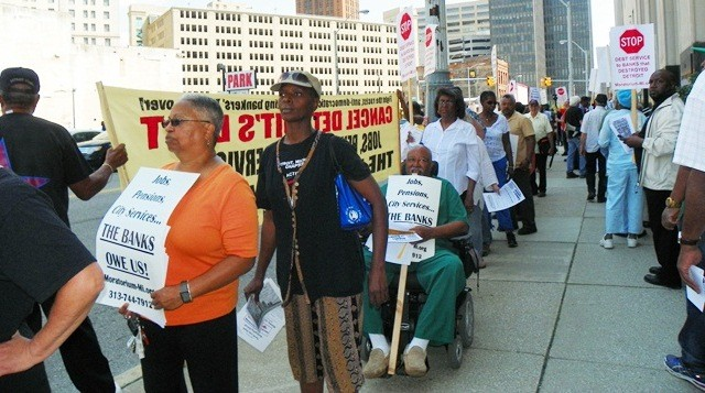 Detroit retirees and supporters at bankruptcy protest Aug. 19, 2013.