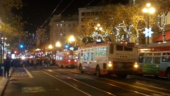 Protesters block Market Street in San Francisco.