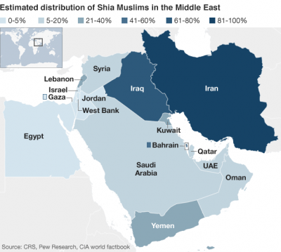 Estimated distribution of Shia Muslims in Mideast
