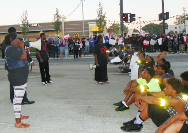Detroit fast food workers block east side intersection at McDonald's Sept. 4, 2014 during national day of civil disobedience.