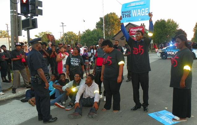 Hundreds of Detroit fast food workers blocked streets Sept. 4, 2014 to demand a raise to $15/hr.
