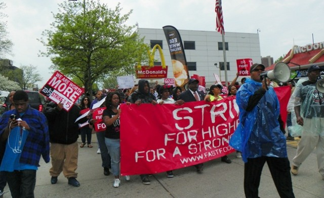 First fast food workers' strike in Detroit 2013.