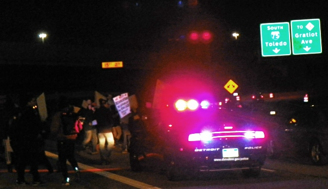 Detroit protesters block I-75 freeway at Gratiot Nov. 25 after grand jury verdict.