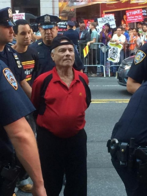 Jose Carillo. 81-year-old NYC McDonald's worker, is arrested during national fast food strike in 2013.