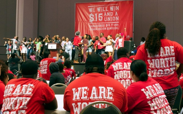 Fast food workers at national convention in Detroit June, 2015.