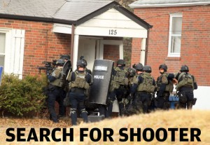 Ferguson cops raid home in manhunt for shooter who wounded two police.