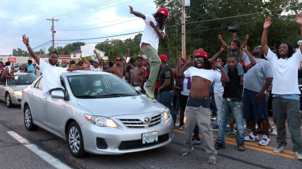 Protesters in Ferguson after Michael Brown's murder by Darren Wilson.