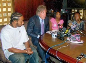 Attorney Geoffrey Fieger at second press conference with l to r Aiyana